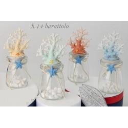 Barattolo vetro con coralli resina. Ass 4. H 14