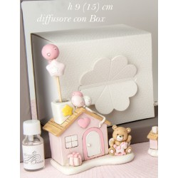 Profumatore resina forma casa con orsetto baby, con profumo e scatola. H 9 (15 tot)