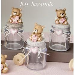 Barattolo in vetro con tappo sughero e orso resina baby. Ass 3. H 9