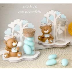 Orso resina con albero legno e provetta vetro porta confetti. Ass 2. H 10