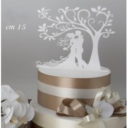 Cake topper plexiglass bianco sposi e albero. Base CM 14.5 H 13.5