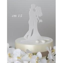 Cake topper plexiglass bianco sposi abbracciati. Base CM 11 H 14.5