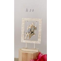 Coppia stilizzata resina su altalena. H 14