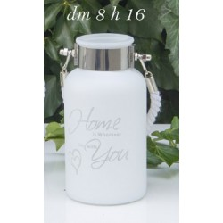 Vaso vetro satinato porta candela con manico corda. H 16