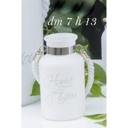 Vaso vetro satinato porta candela con manico corda. H 12.5