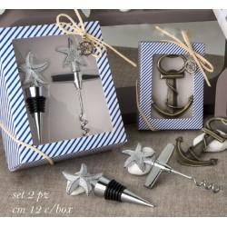 Set apribottiglie e tappo in metallo con scatola marinara. CM 12