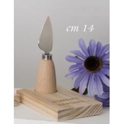 Coltello da formaggio metallo con manico su base legno con scatola. CM 14