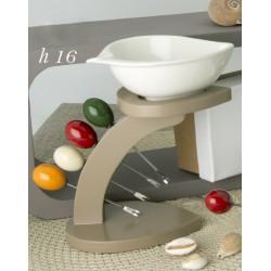 Antipastiera ceramica su base legno con 4 forchettine metallo con scatola. H 16