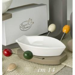 Antipastiera ceramica su base legno con 4 forchettine metallo con scatola. H 14