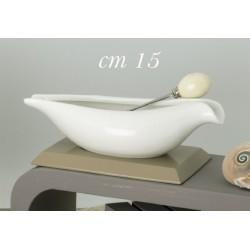 Antipastiera ceramica su base legno con forchettina metallo con scatola. CM 15