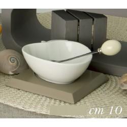 Antipastiera ceramica su base legno con forchettina metallo con scatola. CM 10