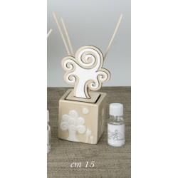 Profumatore ceramica e legno con albero con scatola. CM 15