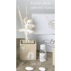 Profumatore ceramica e legno con ballerina con scatola. CM 17