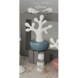 Profumatore ceramica forma albero, base turchese con scatola. H 14