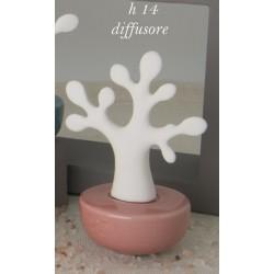 Profumatore ceramica forma albero, base corallo con scatola. H 14