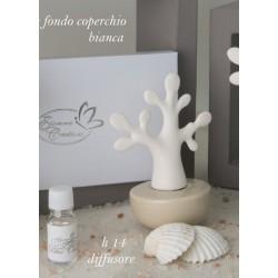 Profumatore ceramica forma albero, base avorio con scatola. H 14