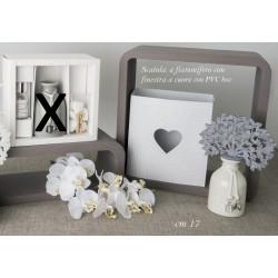 Profumatore ceramica bianca con albero panno grigio con scatola. H 17