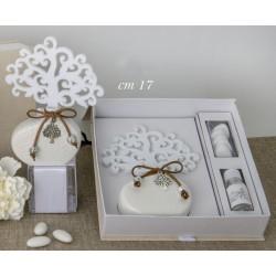 Profumatore ceramica avorio con albero panno e scatola. CM 17