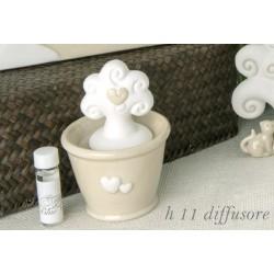 Profumatore forma vasetto ceramica lucida con albero ceramica opaca e scatola. H 11