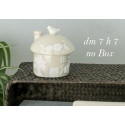 Scatola ceramica forma casa con uccellino ed albero. Diam. 5 H 7