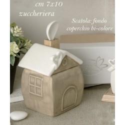 Zuccheriera ceramica forma casa con scatola. CM 7x10