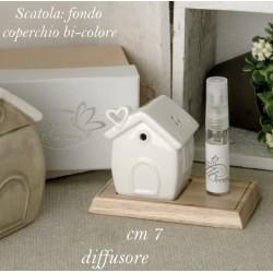 Profumatore forma casa con base legno e scatola. CM 7