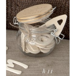 Barattolo vetro con tappo legno inciso e applicazione. Diam. 11 H 11