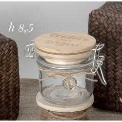 Barattolo vetro con tappo legno inciso e applicazione. Diam. 8.5 H 8.5