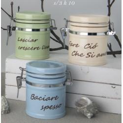 Barattolo ceramica colorata con scritta. Ass 3. H 10