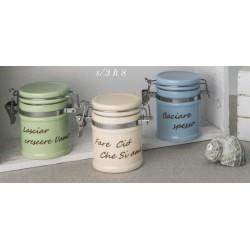 Barattolo ceramica colorata con scritta. Ass 3. H 8