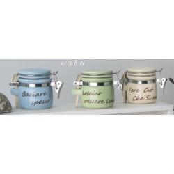 Barattolo ceramica colorata con scritta. Ass 3. H 6