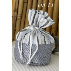 Sacchetto base tonda cotone a righe doppio tessuto. CM 11