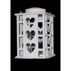 Lanterna legno con traforo cuori e manico corda. H.27