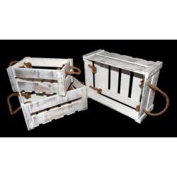 Set tre cassette legno con manici corda. CM 37x27x15 / 31x22x14 / 27x17x12