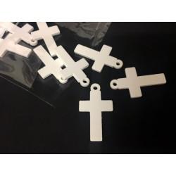 Set 10 croci legno bianche con passante. CM 3.5x2