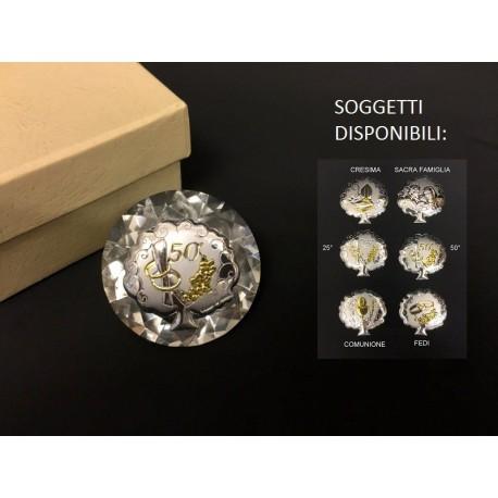 Diamante vetro con applicazione argento per ogni occasione. Diam. 5. Con scatola