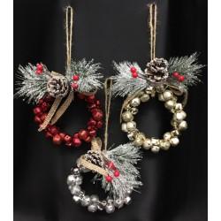 Ghirlanda di campanelli da appendere con decoro natalizio. Diam. 10 H tot 18