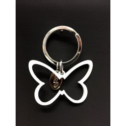 Portachiavi metallo smaltato bianco forma farfalla. Farfalla CM 5.5x4 Tot CM 6.5
