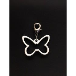 Ciondolo charms farfalla metallo smatato bianco. Farfalla CM 3x2 Tot CM 3.5