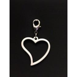 Ciondolo charms cuore metallo smatato bianco. Cuore CM 3 Tot CM 5