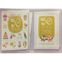 Biglietto auguri anniversario 50esimo con gufetti. Ass 2. CM 12x17