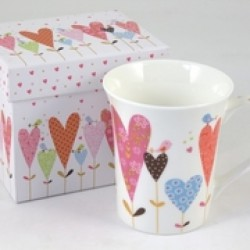 Tazza mug ceramica con decoro cuori e scatola