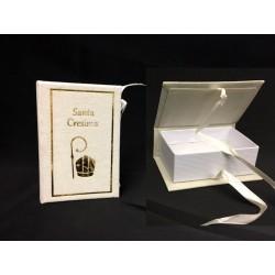 Scatolina forma libro in cartoncino e velluto con stampa cresima. CM 8x5 H 3