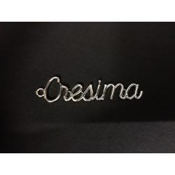"""Ciondolo scritta """"Cresima"""" in metallo. CM 4.5x1"""