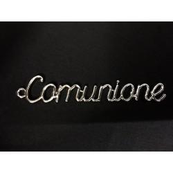 """Ciondolo scritta """"Comunione"""" in metallo. CM 6.5x1"""