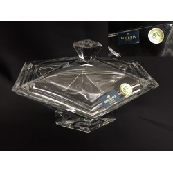 Ciotola con coperchio in cristallo. CM 15.5x12 H 10