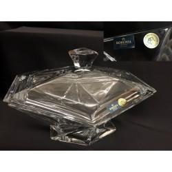 Ciotola con coperchio in cristallo. CM 23x16.5 H 14