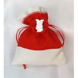 Sacchetto doppio tessuto, bicolor con fiocco e applicazione gesso gufo. CM 11.5x14