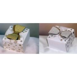 Scatola cartoncino con fiocco glitter carta, oro o argento. CM 6.5x6.5 H 4