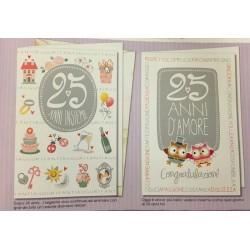 Biglietto auguri anniversario 25esimo con gufetti. Ass 2. CM 12x17